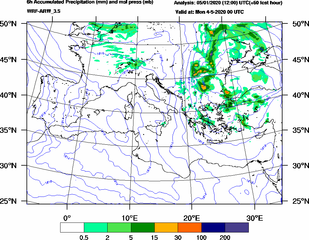 6h Accumulated Precipitation (mm) and msl press (mb) - 2020-05-03 18:00