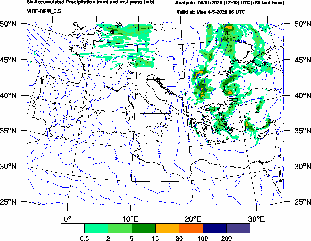 6h Accumulated Precipitation (mm) and msl press (mb) - 2020-05-04 00:00