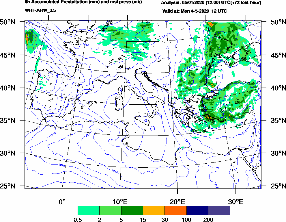 6h Accumulated Precipitation (mm) and msl press (mb) - 2020-05-04 06:00