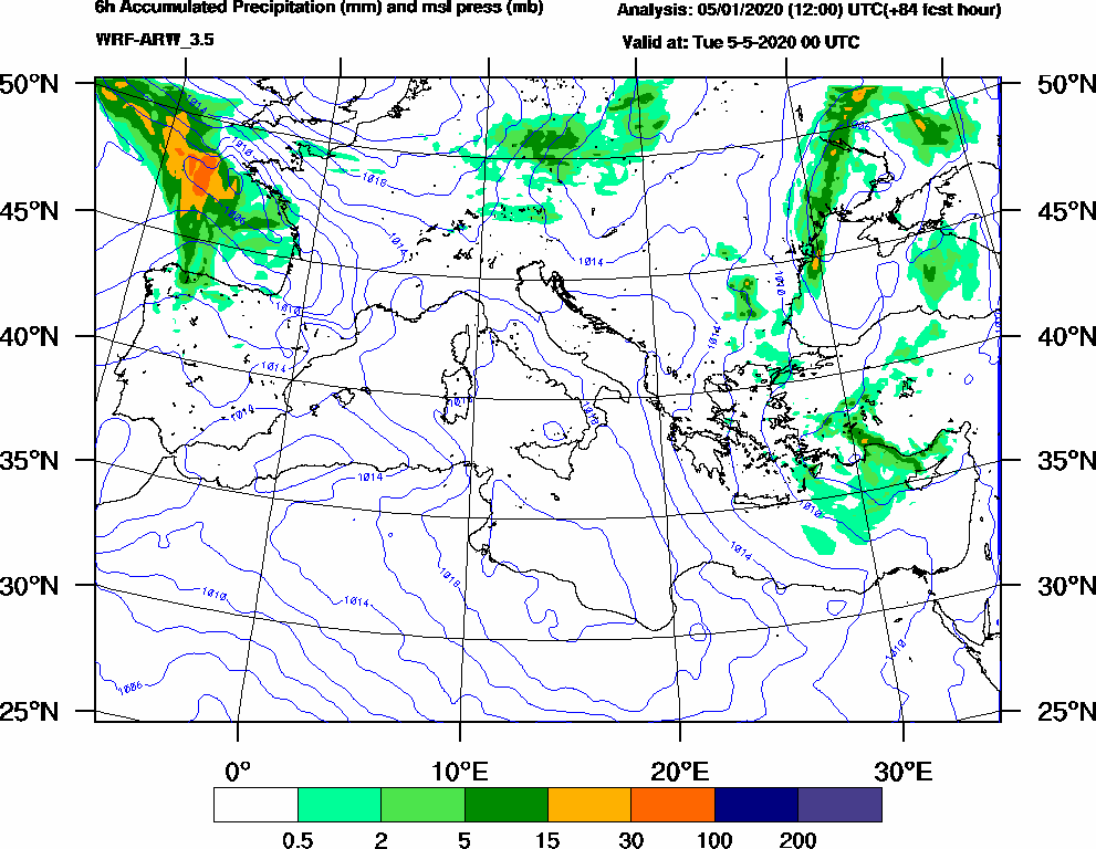 6h Accumulated Precipitation (mm) and msl press (mb) - 2020-05-04 18:00
