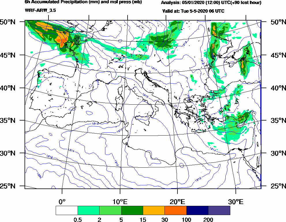 6h Accumulated Precipitation (mm) and msl press (mb) - 2020-05-05 00:00