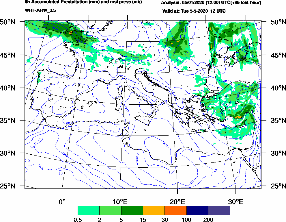 6h Accumulated Precipitation (mm) and msl press (mb) - 2020-05-05 06:00