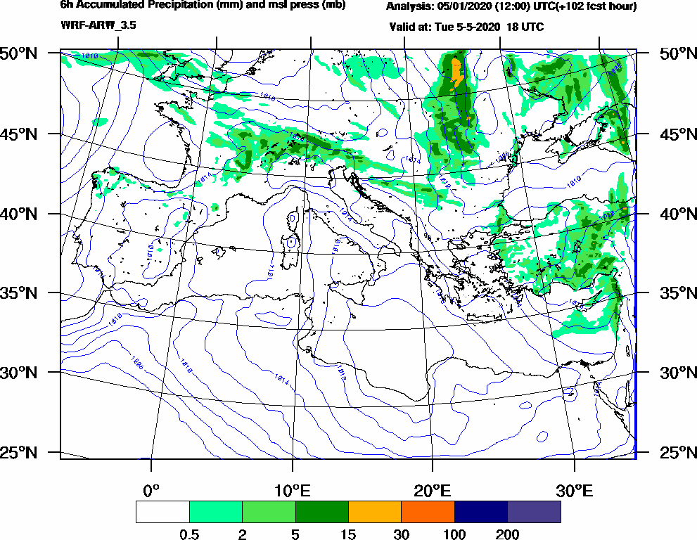 6h Accumulated Precipitation (mm) and msl press (mb) - 2020-05-05 12:00