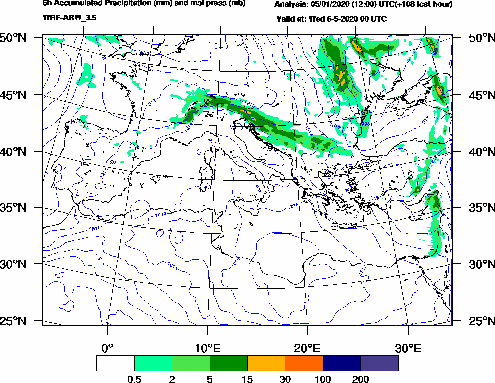 6h Accumulated Precipitation (mm) and msl press (mb) - 2020-05-05 18:00