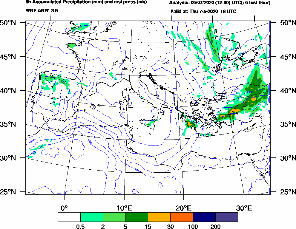 6h Accumulated Precipitation (mm) and msl press (mb) - 2020-05-07 12:00
