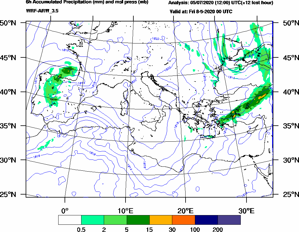 6h Accumulated Precipitation (mm) and msl press (mb) - 2020-05-07 18:00