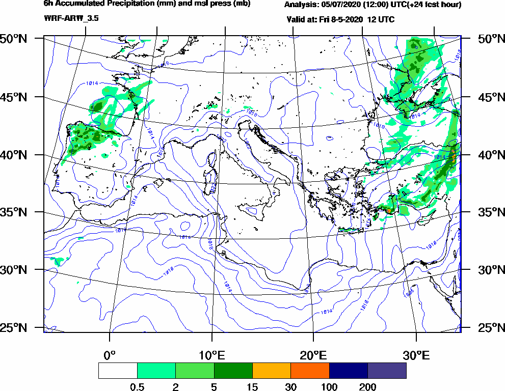 6h Accumulated Precipitation (mm) and msl press (mb) - 2020-05-08 06:00