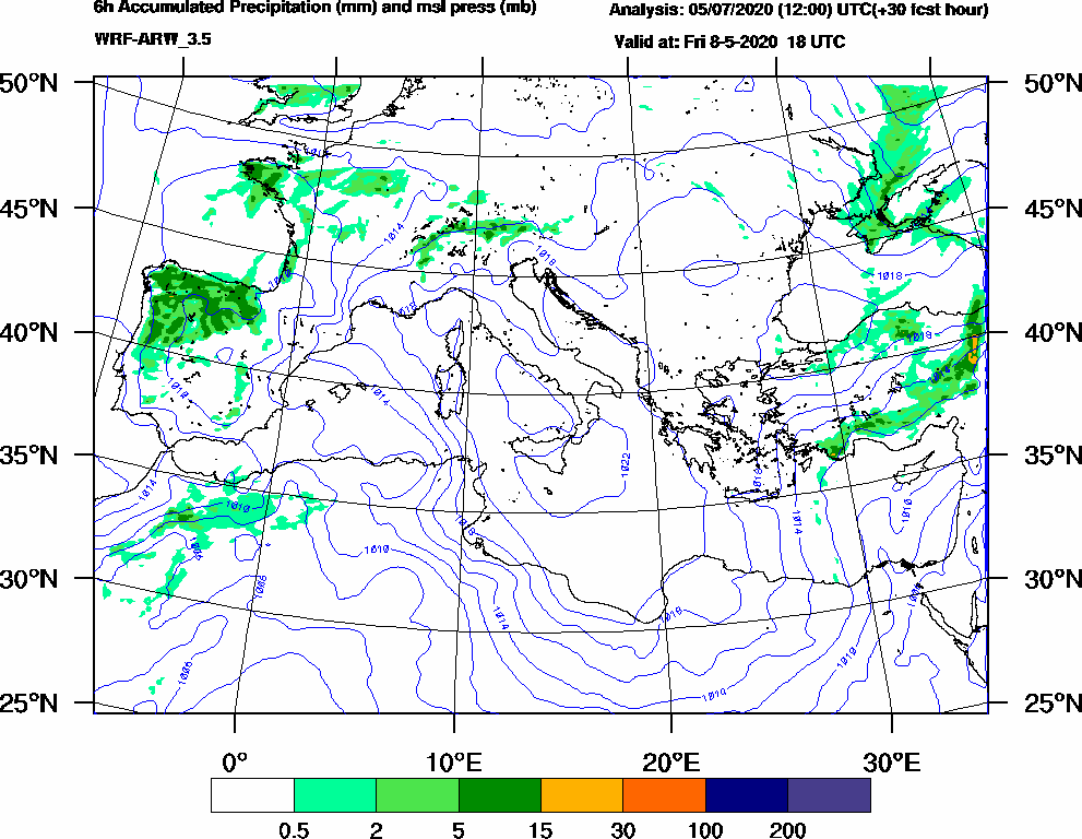 6h Accumulated Precipitation (mm) and msl press (mb) - 2020-05-08 12:00