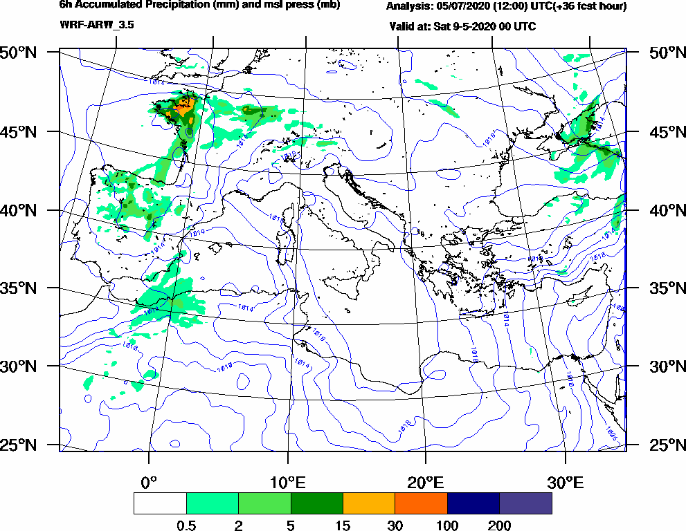 6h Accumulated Precipitation (mm) and msl press (mb) - 2020-05-08 18:00