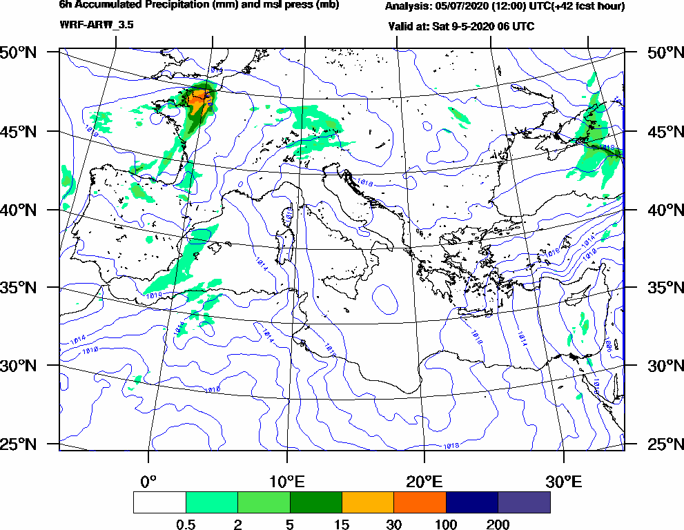 6h Accumulated Precipitation (mm) and msl press (mb) - 2020-05-09 00:00
