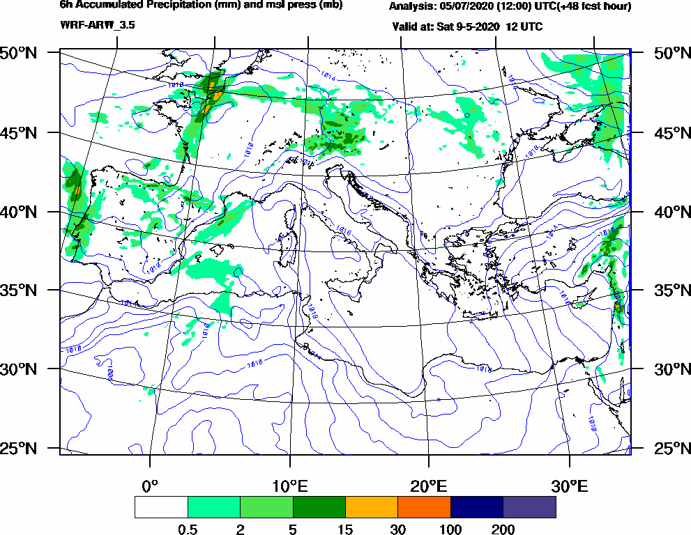 6h Accumulated Precipitation (mm) and msl press (mb) - 2020-05-09 06:00