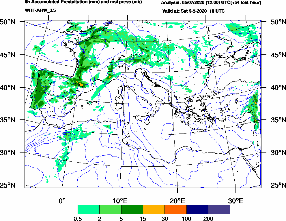 6h Accumulated Precipitation (mm) and msl press (mb) - 2020-05-09 12:00