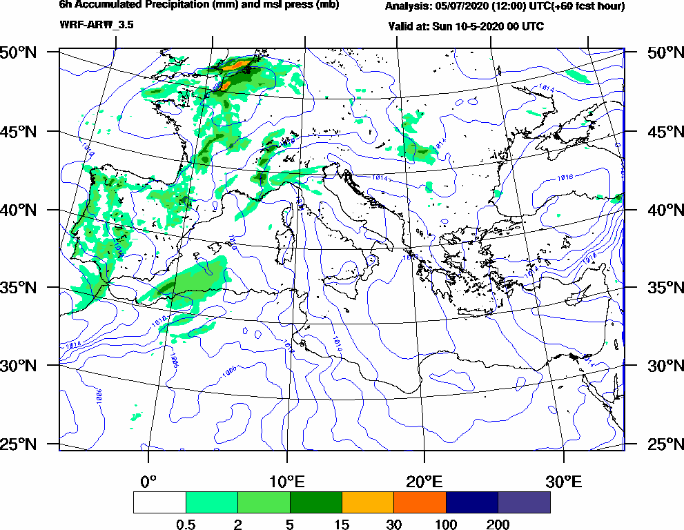 6h Accumulated Precipitation (mm) and msl press (mb) - 2020-05-09 18:00