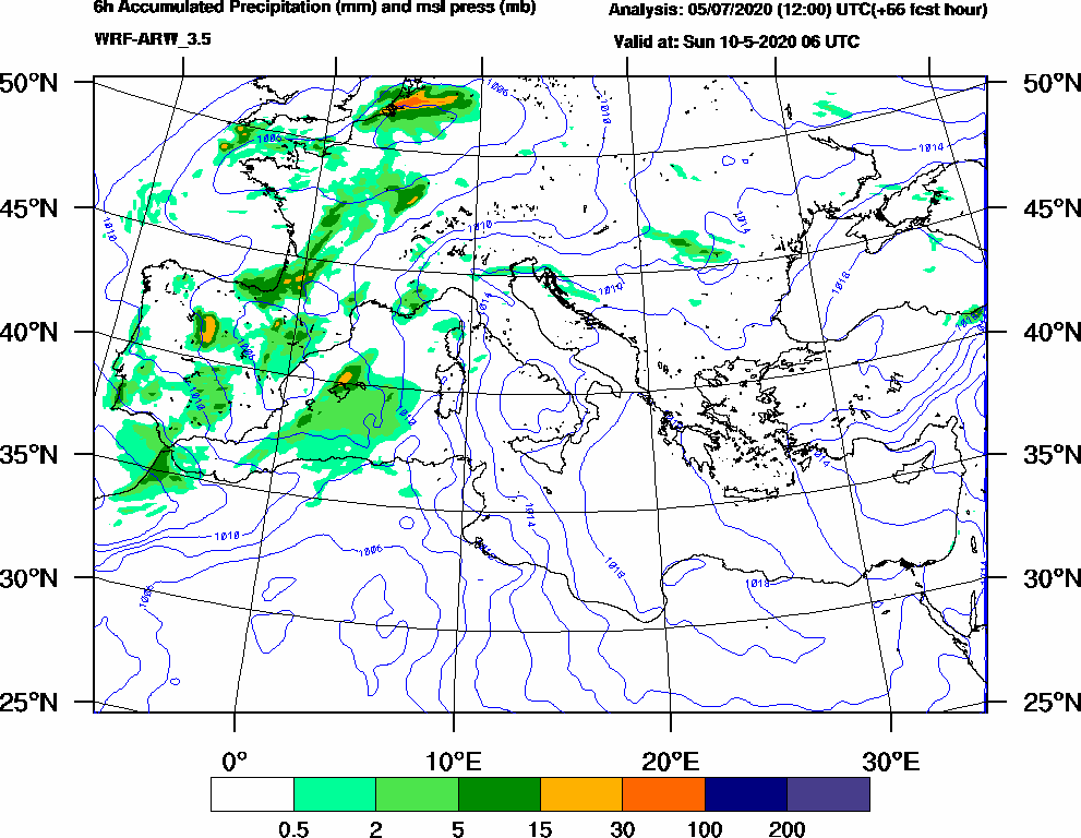 6h Accumulated Precipitation (mm) and msl press (mb) - 2020-05-10 00:00