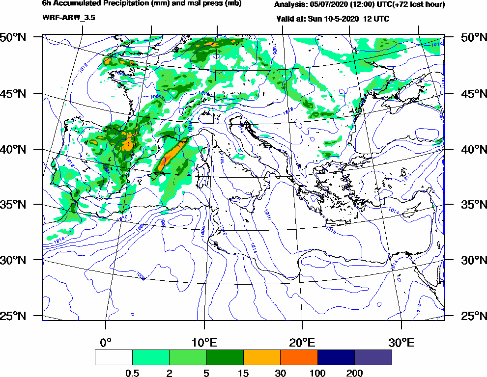 6h Accumulated Precipitation (mm) and msl press (mb) - 2020-05-10 06:00