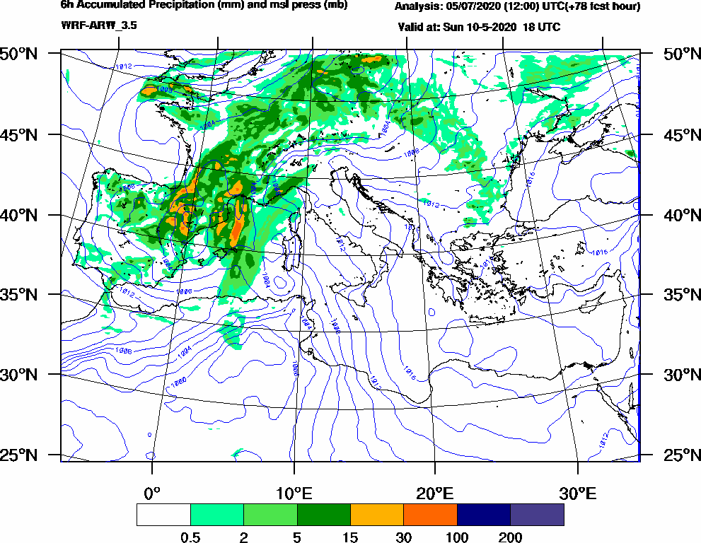 6h Accumulated Precipitation (mm) and msl press (mb) - 2020-05-10 12:00