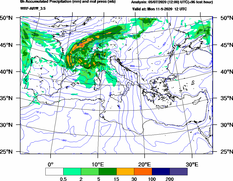 6h Accumulated Precipitation (mm) and msl press (mb) - 2020-05-11 06:00