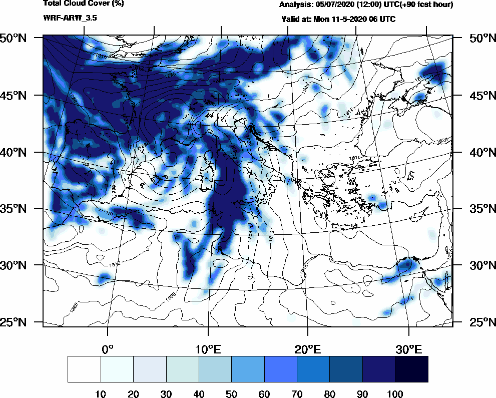 Total cloud cover (%) - 2020-05-11 00:00
