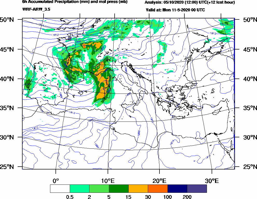 6h Accumulated Precipitation (mm) and msl press (mb) - 2020-05-10 18:00