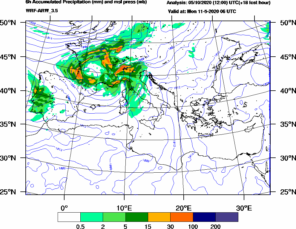 6h Accumulated Precipitation (mm) and msl press (mb) - 2020-05-11 00:00