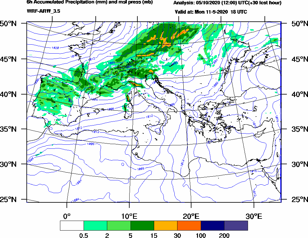 6h Accumulated Precipitation (mm) and msl press (mb) - 2020-05-11 12:00