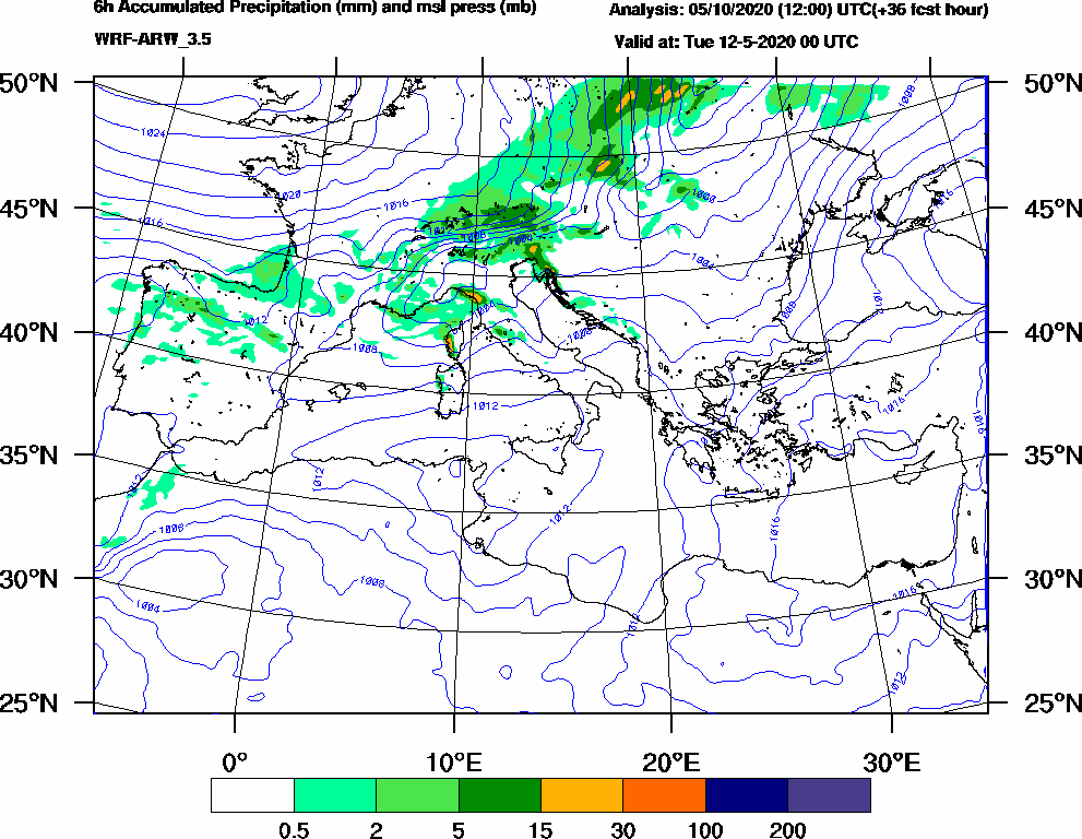 6h Accumulated Precipitation (mm) and msl press (mb) - 2020-05-11 18:00