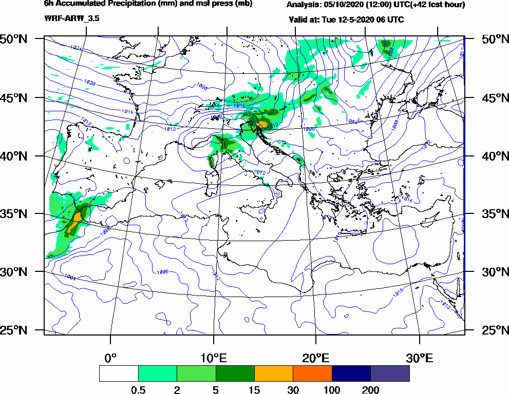 6h Accumulated Precipitation (mm) and msl press (mb) - 2020-05-12 00:00