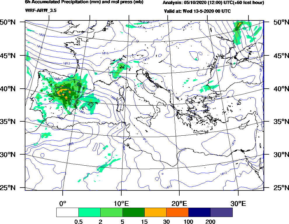 6h Accumulated Precipitation (mm) and msl press (mb) - 2020-05-12 18:00