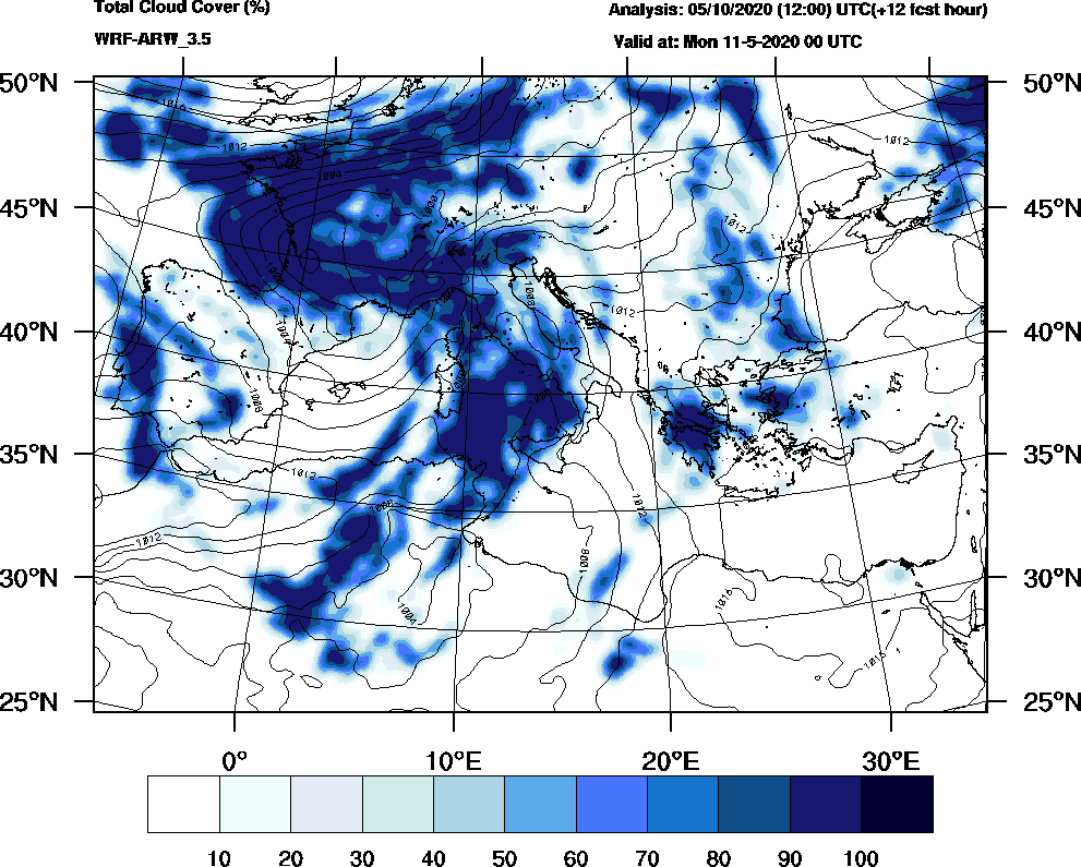 Total cloud cover (%) - 2020-05-10 18:00