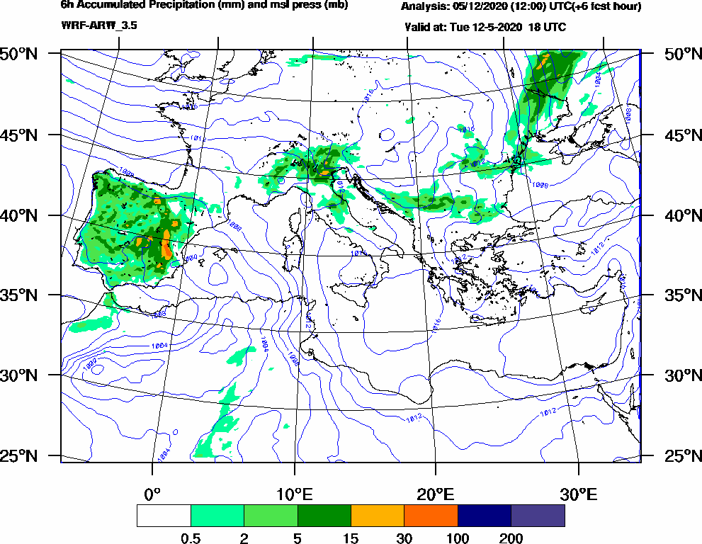 6h Accumulated Precipitation (mm) and msl press (mb) - 2020-05-12 12:00