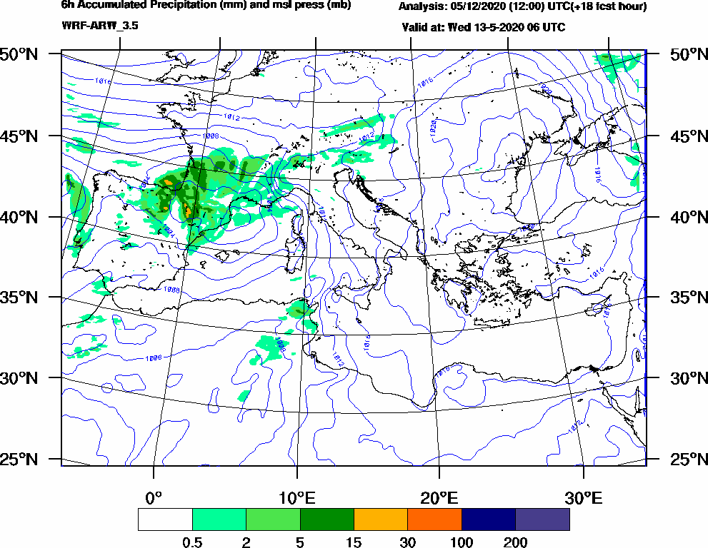 6h Accumulated Precipitation (mm) and msl press (mb) - 2020-05-13 00:00