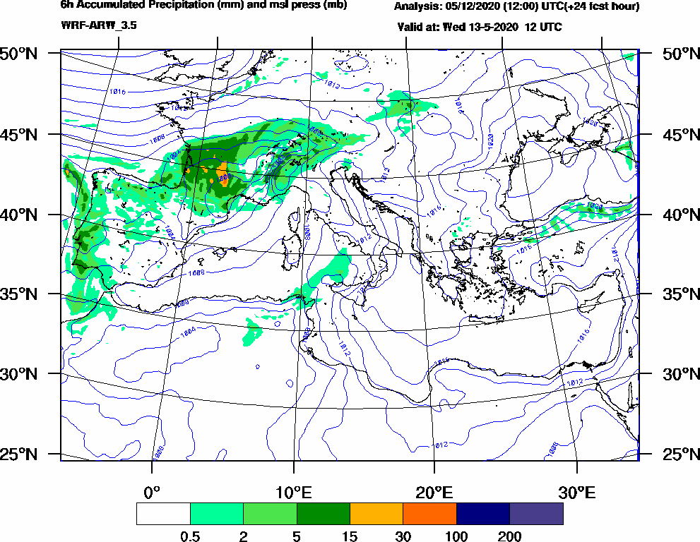 6h Accumulated Precipitation (mm) and msl press (mb) - 2020-05-13 06:00