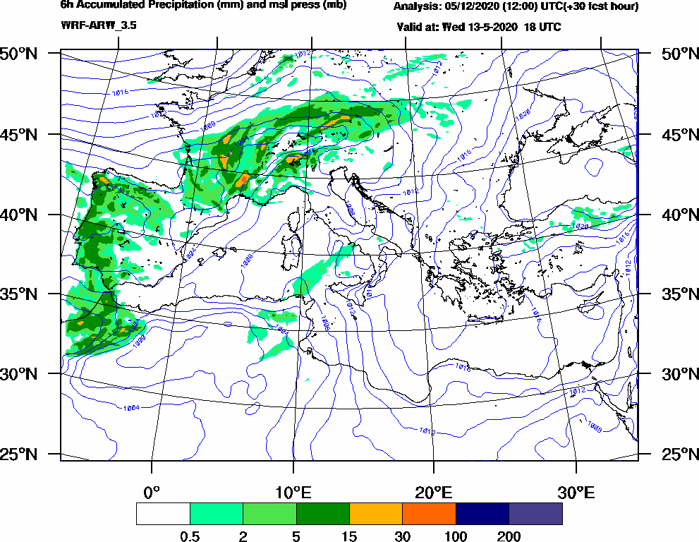 6h Accumulated Precipitation (mm) and msl press (mb) - 2020-05-13 12:00