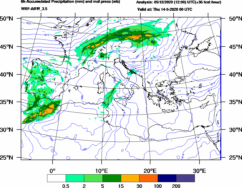 6h Accumulated Precipitation (mm) and msl press (mb) - 2020-05-13 18:00