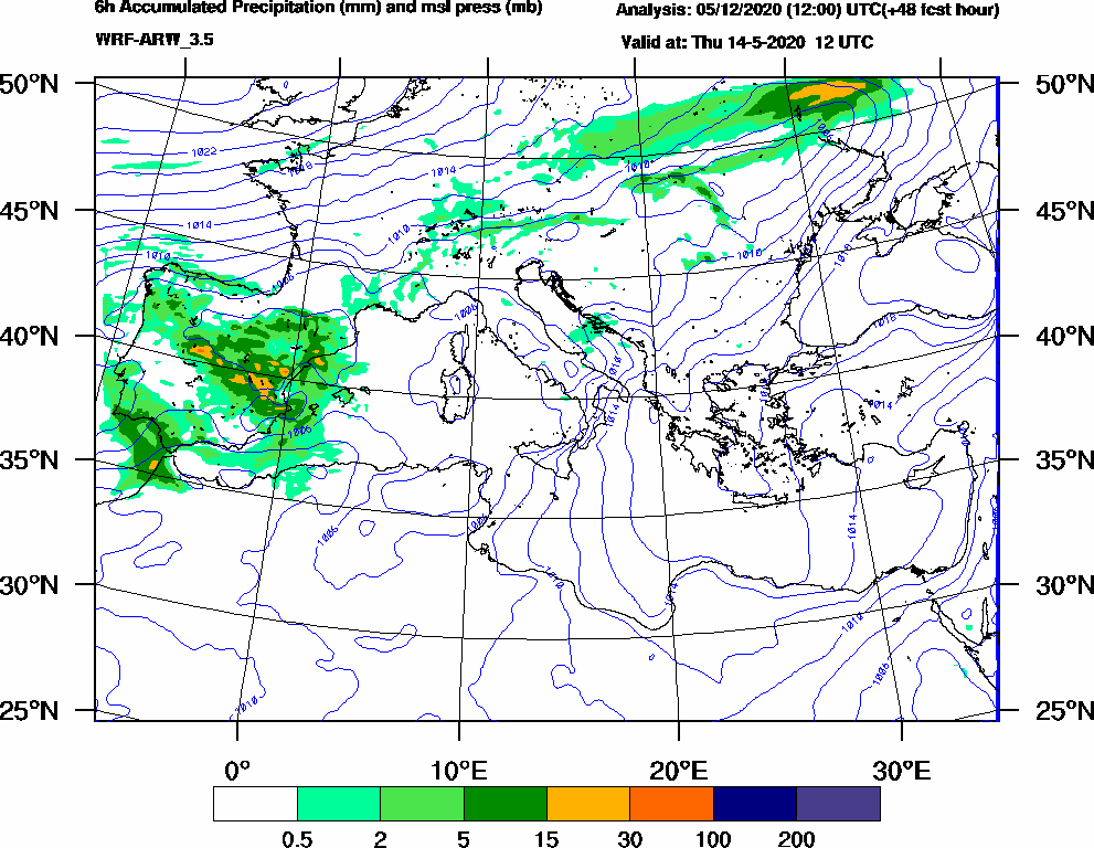 6h Accumulated Precipitation (mm) and msl press (mb) - 2020-05-14 06:00