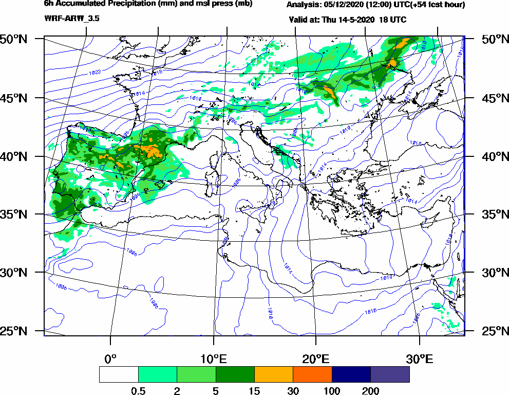 6h Accumulated Precipitation (mm) and msl press (mb) - 2020-05-14 12:00