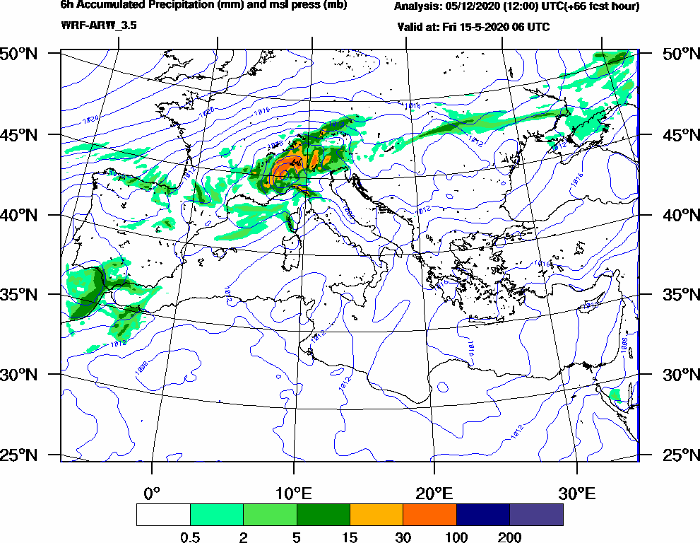 6h Accumulated Precipitation (mm) and msl press (mb) - 2020-05-15 00:00