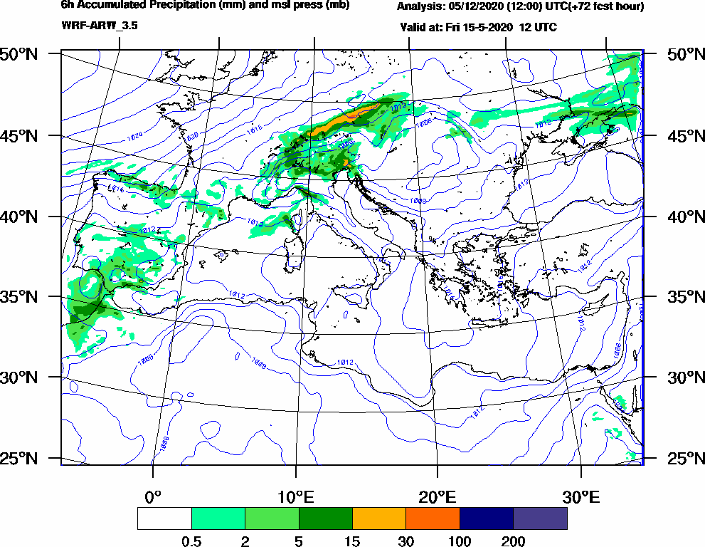6h Accumulated Precipitation (mm) and msl press (mb) - 2020-05-15 06:00