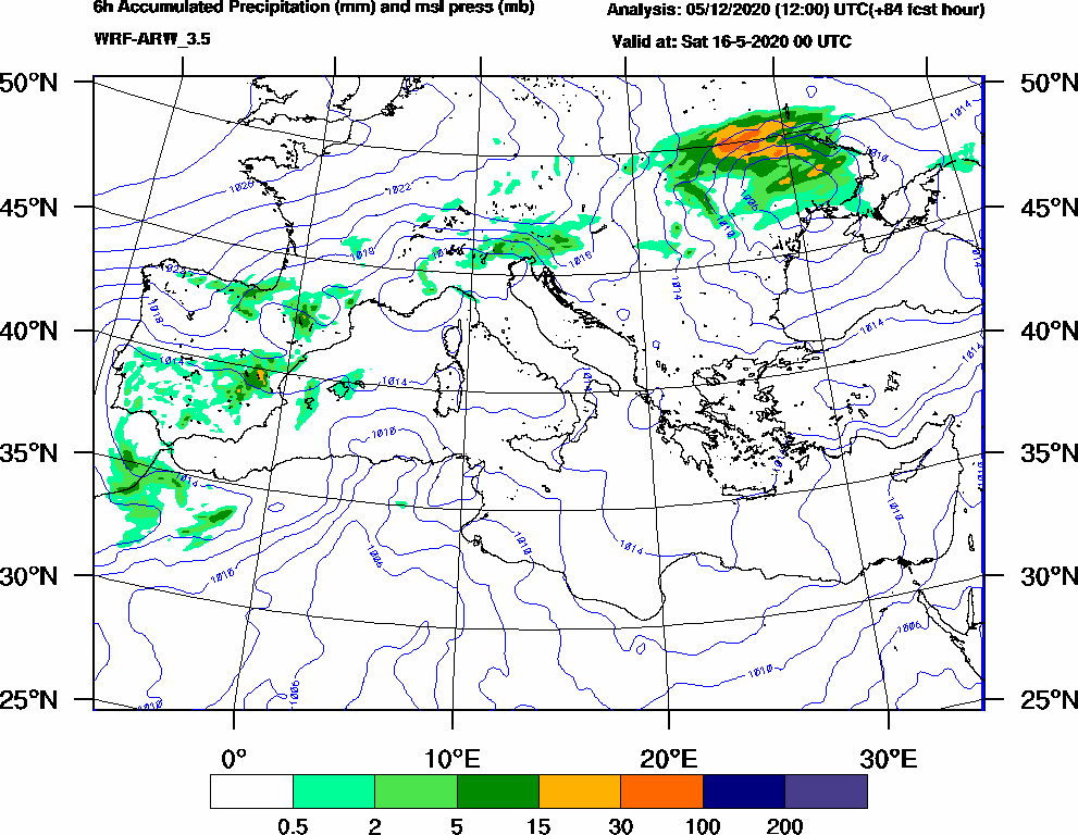 6h Accumulated Precipitation (mm) and msl press (mb) - 2020-05-15 18:00