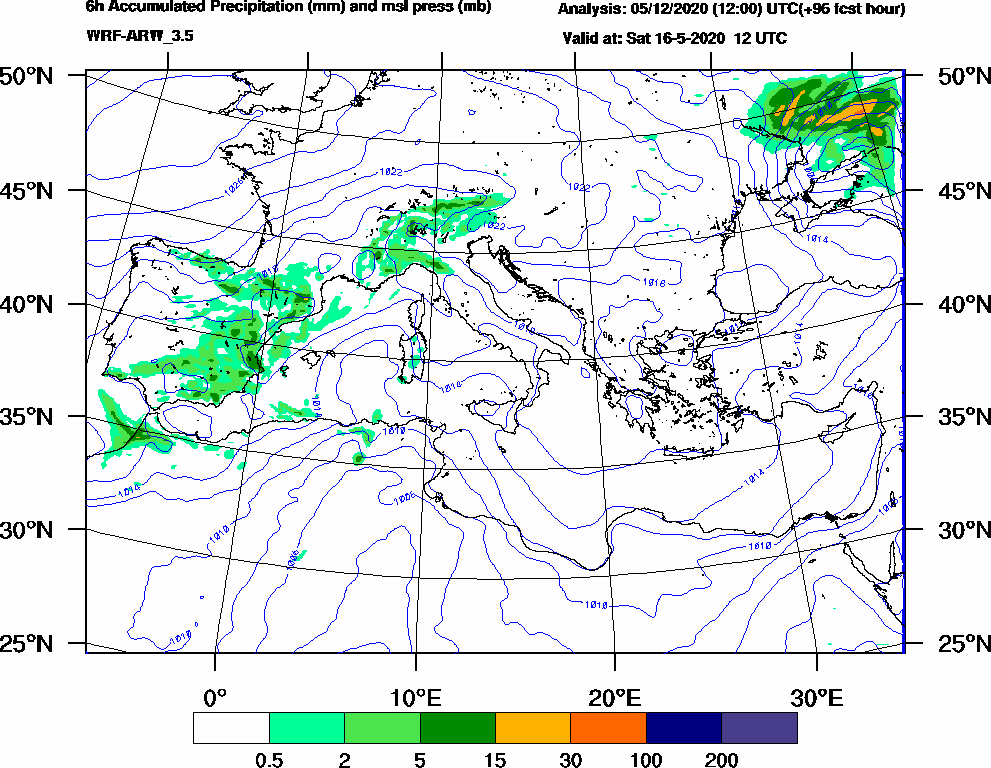 6h Accumulated Precipitation (mm) and msl press (mb) - 2020-05-16 06:00