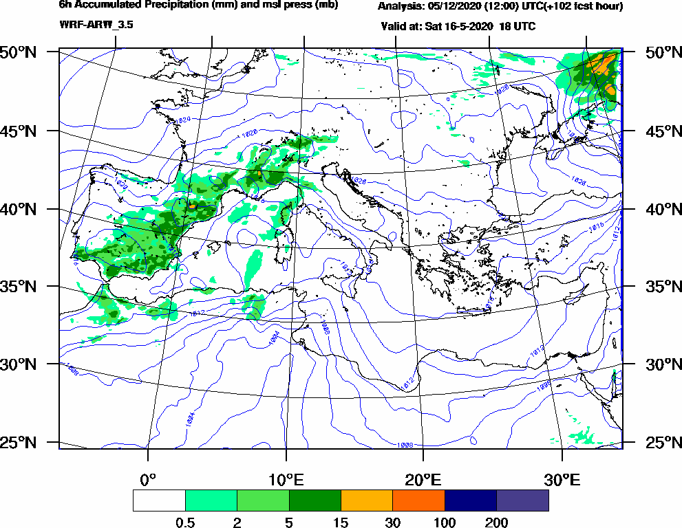 6h Accumulated Precipitation (mm) and msl press (mb) - 2020-05-16 12:00