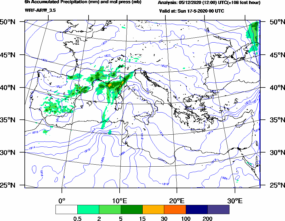 6h Accumulated Precipitation (mm) and msl press (mb) - 2020-05-16 18:00