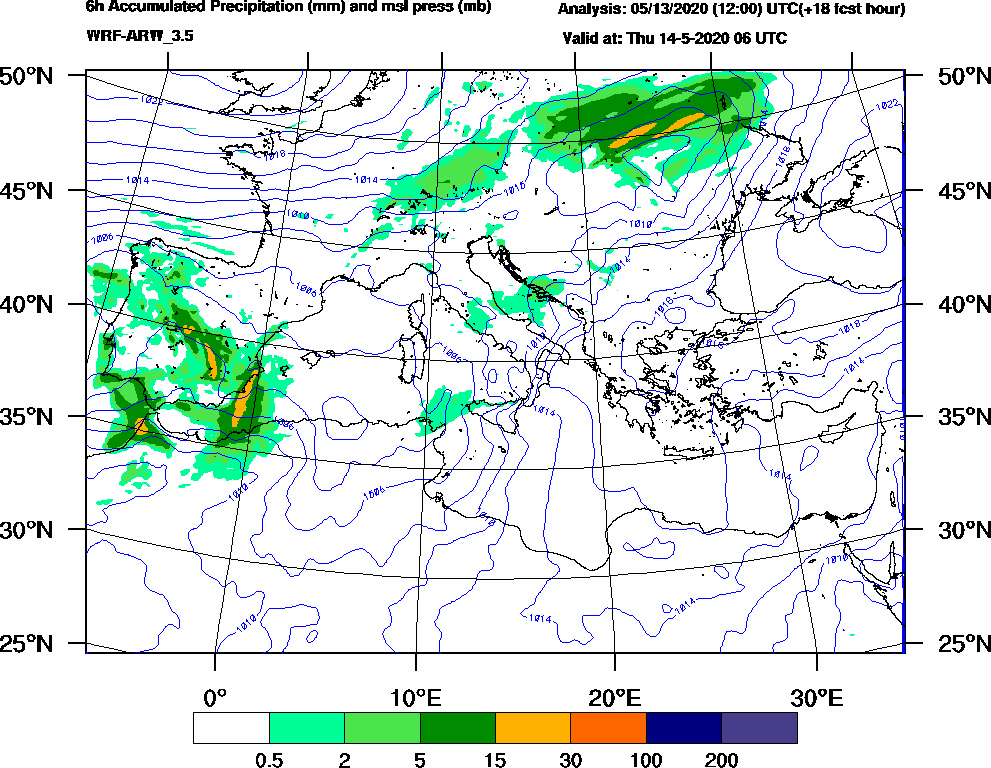 6h Accumulated Precipitation (mm) and msl press (mb) - 2020-05-14 00:00