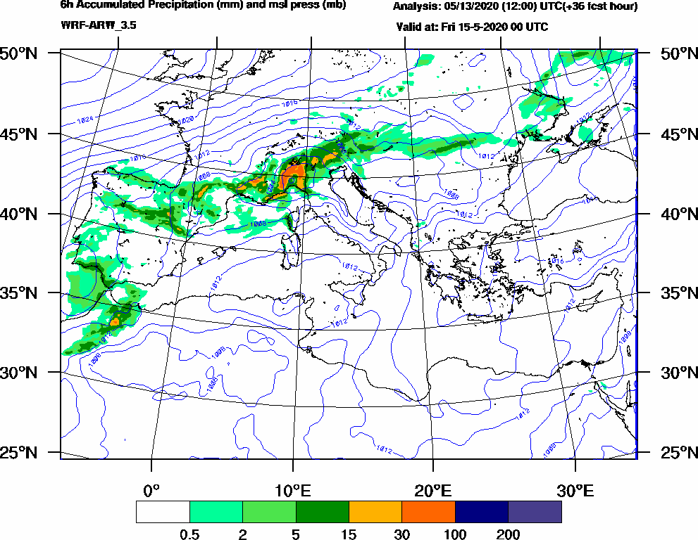 6h Accumulated Precipitation (mm) and msl press (mb) - 2020-05-14 18:00