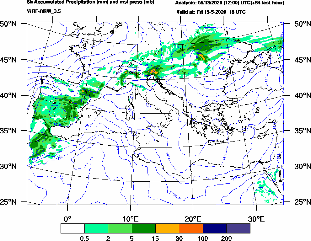 6h Accumulated Precipitation (mm) and msl press (mb) - 2020-05-15 12:00