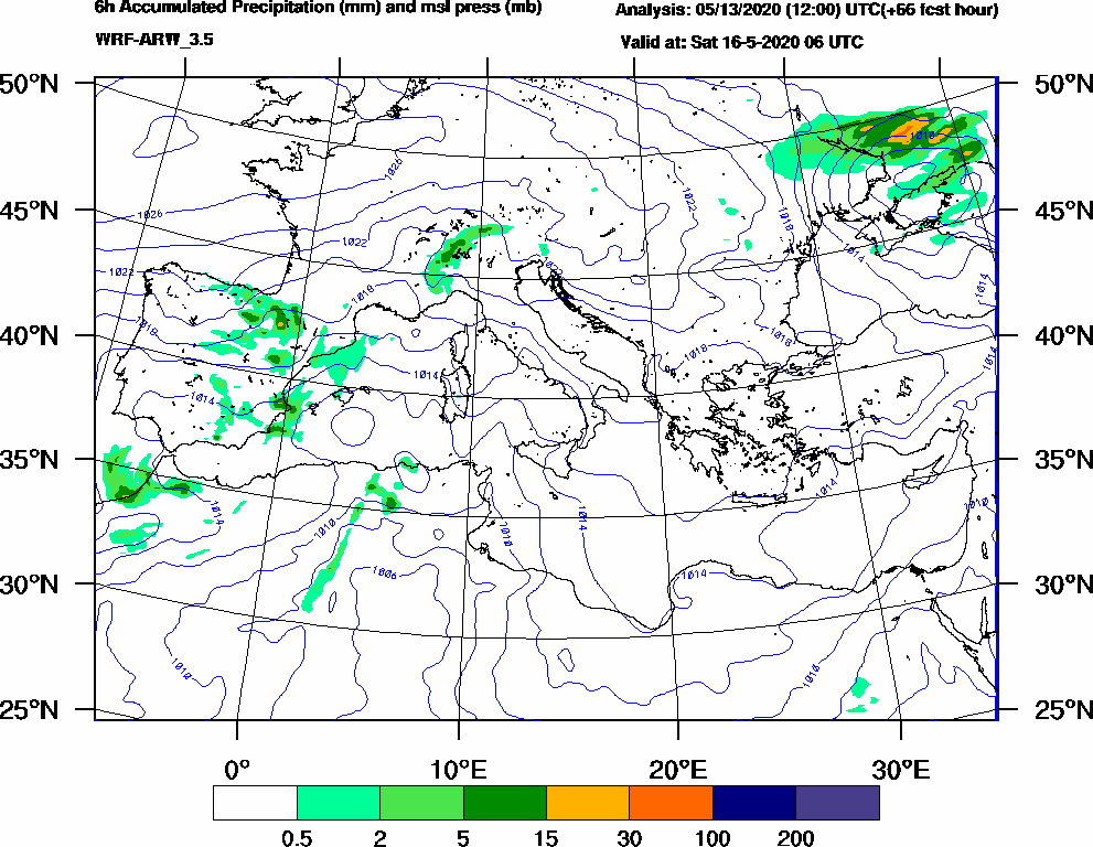 6h Accumulated Precipitation (mm) and msl press (mb) - 2020-05-16 00:00