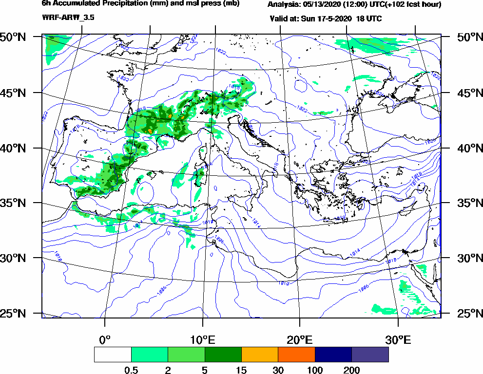 6h Accumulated Precipitation (mm) and msl press (mb) - 2020-05-17 12:00