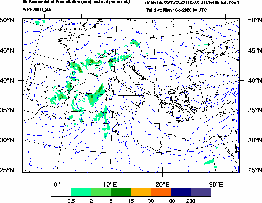 6h Accumulated Precipitation (mm) and msl press (mb) - 2020-05-17 18:00