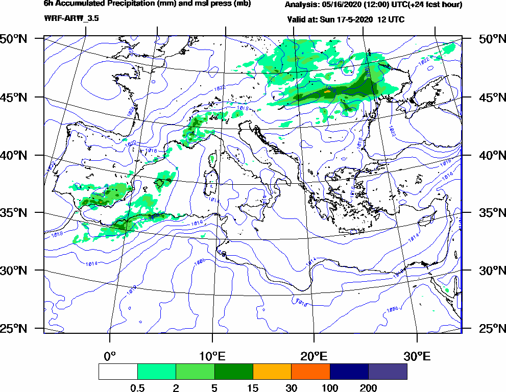 6h Accumulated Precipitation (mm) and msl press (mb) - 2020-05-17 06:00