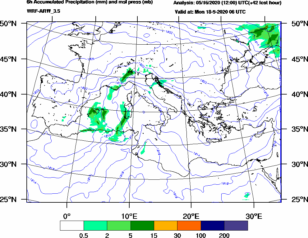 6h Accumulated Precipitation (mm) and msl press (mb) - 2020-05-18 00:00
